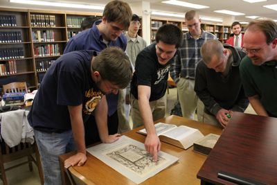 Students viewing KJV facsimile